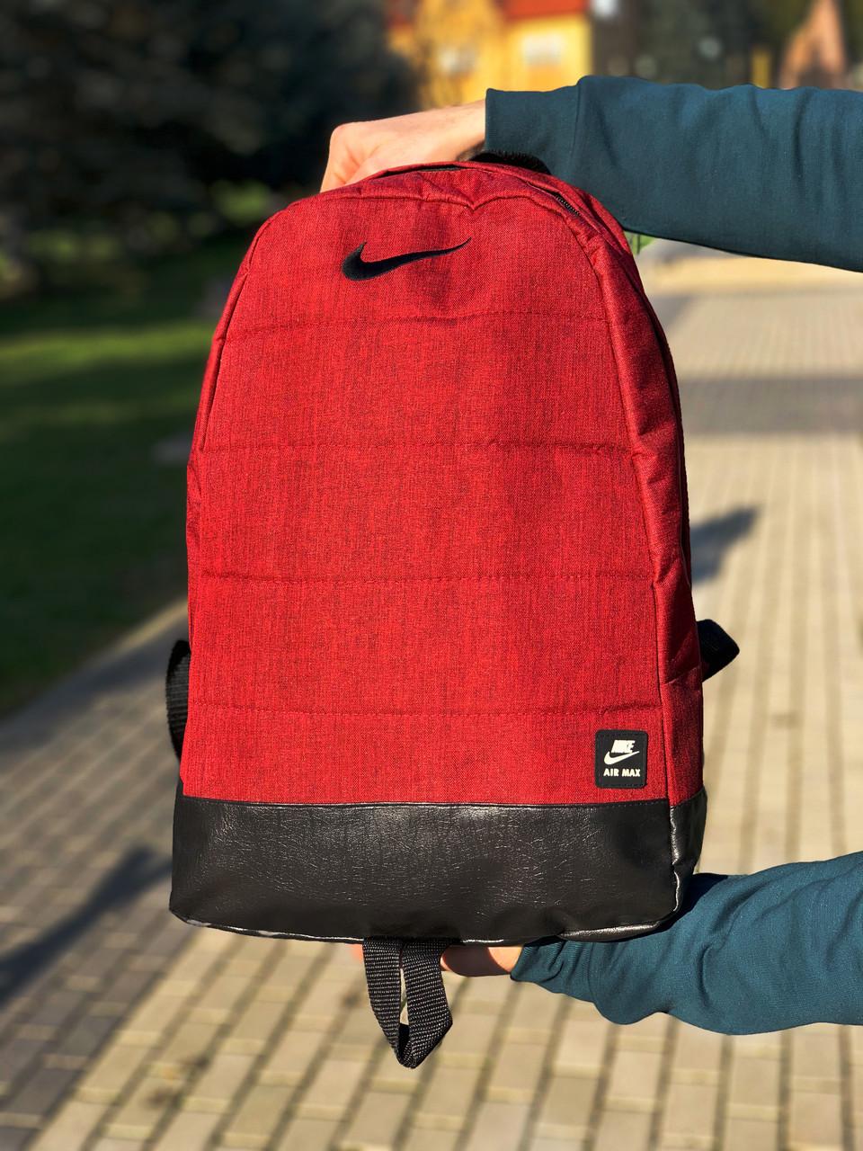 Рюкзак городской мужской, женский, Nike (Найк) Красный Реплика Логотип Черный