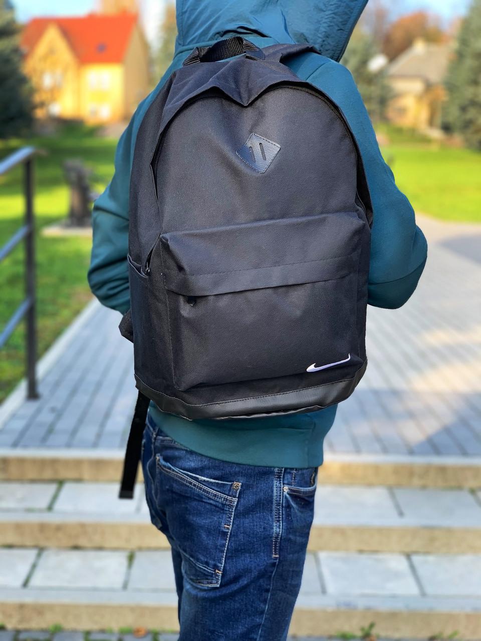 Рюкзак городской мужской, женский, Nike (Найк) Черный Реплика Логотип Белый