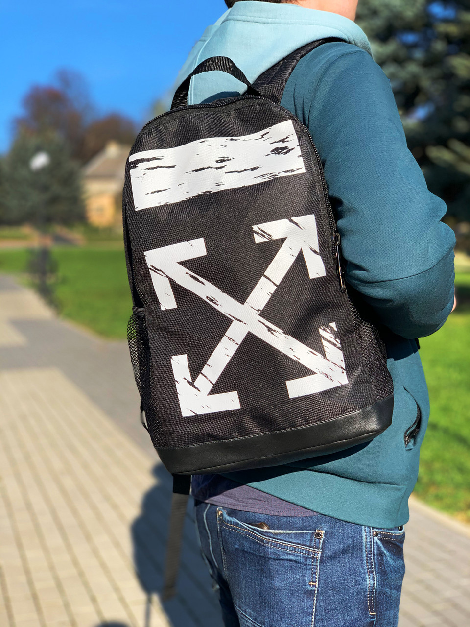 Рюкзак городской мужской, женский, Off white Черный Реплика Логотип Белый
