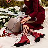 Ботинки с фальш-шнуровкой, каблук 4,5см, цвет красная груша, в наличии размер 38, фото 5