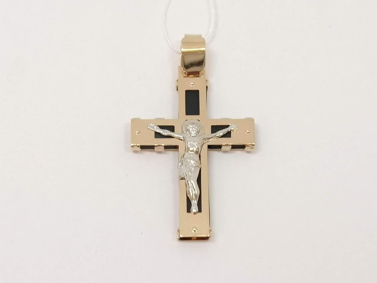 Золотой крестик с каучуком. Распятие Христа. Артикул 940022