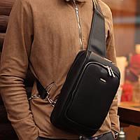 Сумка рюкзак через плечо David jones Black мужская слинг еко-кожа черная