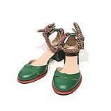 Туфли-деленки с текстильными завязками и союзкой из двух деталей, каблук 4см, цвет зеленый, фото 3