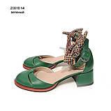 Туфли-деленки с текстильными завязками и союзкой из двух деталей, каблук 4см, цвет зеленый, фото 2