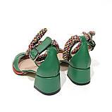 Туфли-деленки с текстильными завязками и союзкой из двух деталей, каблук 4см, цвет зеленый, фото 4