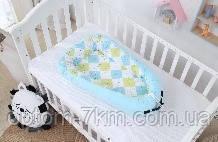 Гнездышко-кокон для новорожденного ребенка с сеткой голубое NJ G