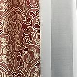 Готовая занавеска с ламбрекеном 250x180 Цвет-Бордовый, фото 6
