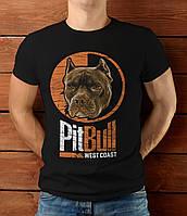 Мужская футболка стильная модная молодежная Питбуль, 100% хлопок PITBULL