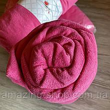 Простынь на резинке махровая | Размер 90х200 + 25см. Цвет - Розовый | Простыня натяжная