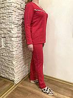48 (L) размер! Теплая женская пижама в горошек малинового цвета, домашняя одежда из байки, хлопок 100%