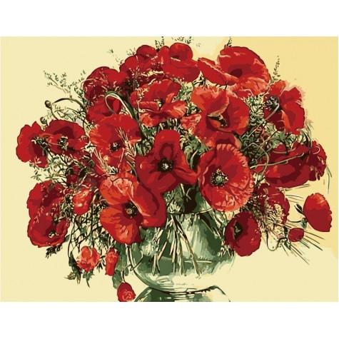 Картины по номерам Красные маки в стеклянной вазе (КНО1076)
