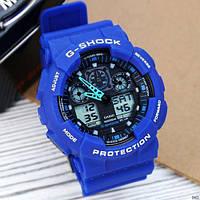 Мужские наручные часы Casio G-Shock GA-100 Blue-Black, фото 2