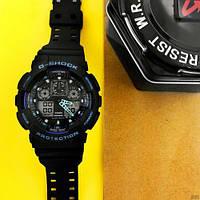 Мужские наручные часы Casio G-Shock GA-100 Black-Black-Blue, фото 3