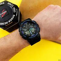 Мужские наручные часы Casio G-Shock GA-100 Black-Black-Blue, фото 4