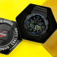 Мужские наручные часы Casio G-Shock GA-100 Black-Black-Blue, фото 5
