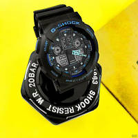 Мужские наручные часы Casio G-Shock GA-100 Black-Black-Blue, фото 7