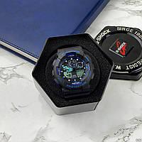 Мужские наручные часы Casio G-Shock GA-100 Black-Black-Blue, фото 8