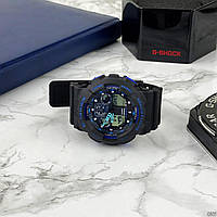 Мужские наручные часы Casio G-Shock GA-100 Black-Black-Blue, фото 9