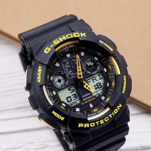 Мужские наручные часы Casio G-Shock GA-100 Black-Yellow-Black