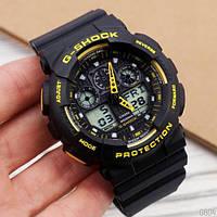 Мужские наручные часы Casio G-Shock GA-100 Black-Yellow-Black, фото 2