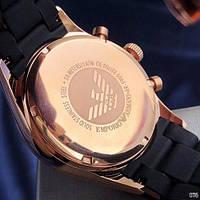 Мужские наручные часы Emporio Armani AR-5905 Black-Gold-Black Silicone, фото 7