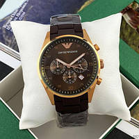 Мужские наручные часы Emporio Armani AR-5905 Gold-Brown Silicone, фото 2