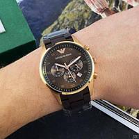 Мужские наручные часы Emporio Armani AR-5905 Gold-Brown Silicone, фото 3