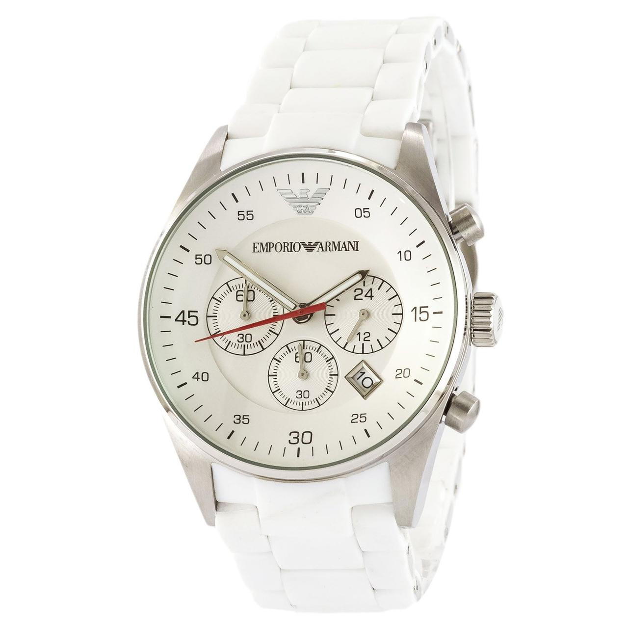 Мужские наручные часы Emporio Armani AR-5905 White-Silver Silicone