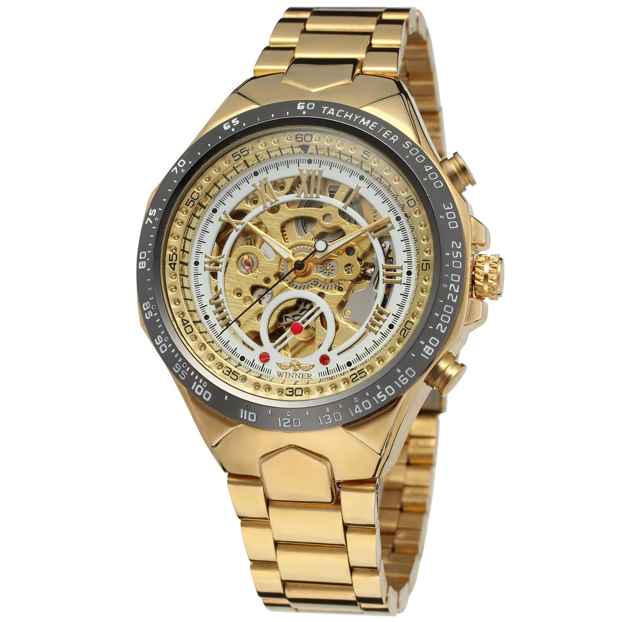 Мужские наручные часы Winner 8067 Gold-Black-White Red Cristal