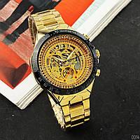 Мужские наручные часы Winner 8067 Gold-Black-Gold Red Cristal, фото 2