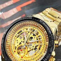 Мужские наручные часы Winner 8067 Gold-Black-Gold Red Cristal, фото 4