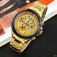 Мужские наручные часы Winner 8067 Gold-Black-Gold Red Cristal, фото 5