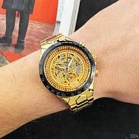 Мужские наручные часы Winner 8067 Gold-Black-Gold Red Cristal, фото 7