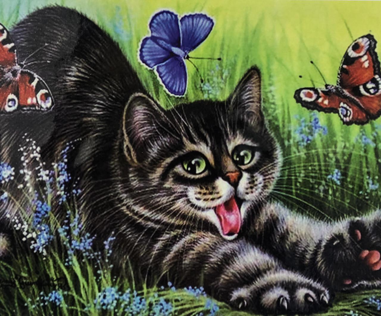 """Алмазная Мозаика на подрамнике . Набор алмазной вышивки на подрамнике """"Котенок и бабочки"""". Размер 40*30 см."""