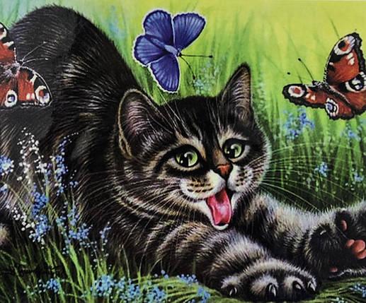 """Алмазная Мозаика на подрамнике . Набор алмазной вышивки на подрамнике """"Котенок и бабочки"""". Размер 40*30 см., фото 2"""