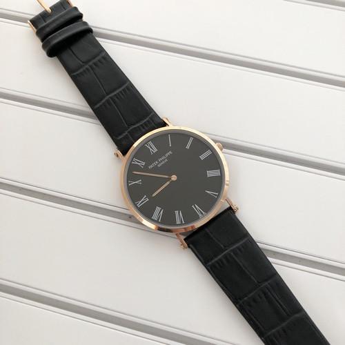 Мужские наручные часы Patek Philippe Calatrava Gold-Black Rome
