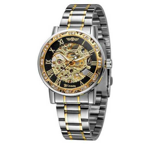 Мужские наручные часы Winner 8012 Diamonds Automatic Silver-Black-Gold
