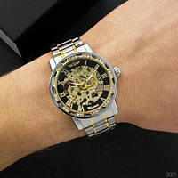 Мужские наручные часы Winner 8012 Diamonds Automatic Silver-Black-Gold, фото 2