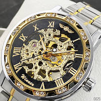 Мужские наручные часы Winner 8012 Diamonds Automatic Silver-Black-Gold, фото 4