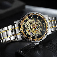 Мужские наручные часы Winner 8012 Diamonds Automatic Silver-Black-Gold, фото 7