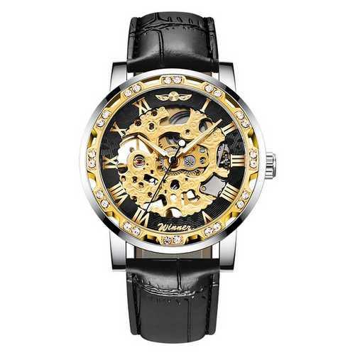 Мужские наручные часы Winner 8012C Diamonds Automatic Black-Silver-Gold-Black