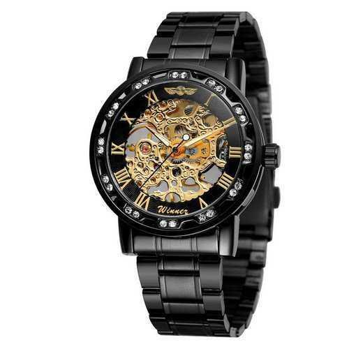 Мужские наручные часы Winner 8012 Diamonds Automatic Black-Gold