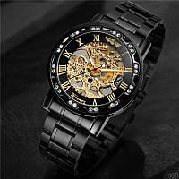 Мужские наручные часы Winner 8012 Diamonds Automatic Black-Gold, фото 3