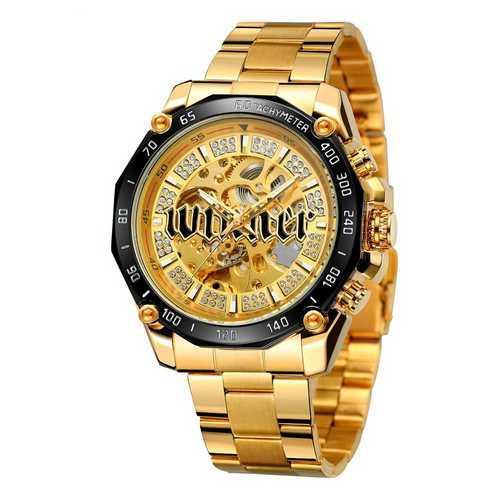 Мужские наручные часы Winner 8186 Big Diamonds Gold