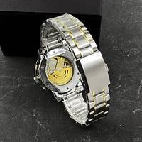 Мужские наручные часы Winner 8012 Diamonds Automatic Silver-Gold, фото 3