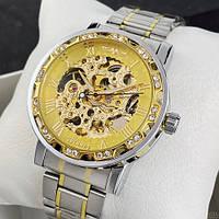 Мужские наручные часы Winner 8012 Diamonds Automatic Silver-Gold, фото 5