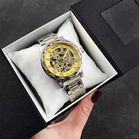 Мужские наручные часы Winner 8012 Diamonds Automatic Silver-Gold, фото 6