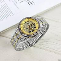 Мужские наручные часы Winner 8012 Diamonds Automatic Silver-Gold, фото 8