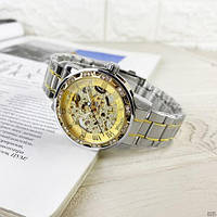 Мужские наручные часы Winner 8012 Diamonds Automatic Silver-Gold, фото 9