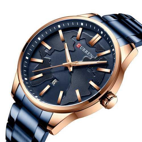 Мужские наручные часы Curren 8366 Blue-Gold